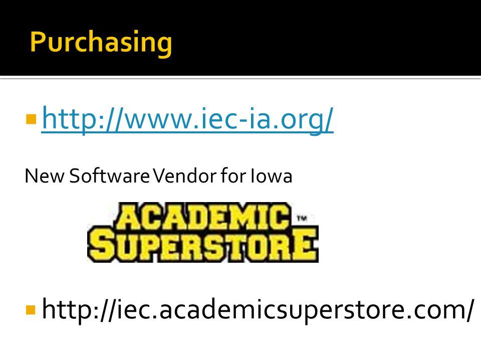  http://www.iec-ia.org/ http://www.iec-ia.org/ New Software Vendor for Iowa  http://iec.academicsuperstore.com/