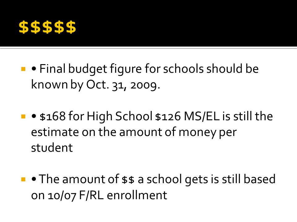  Final budget figure for schools should be known by Oct. 31, 2009.  $168 for High School $126 MS/EL is still the estimate on the amount of money per