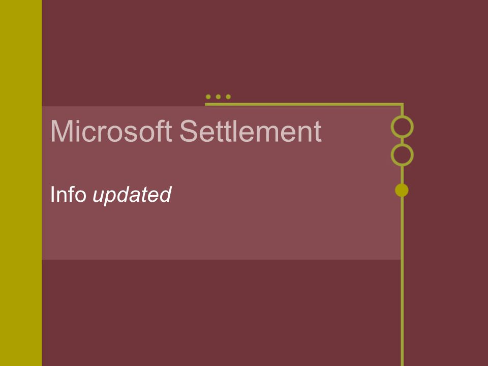 Microsoft Settlement Info updated