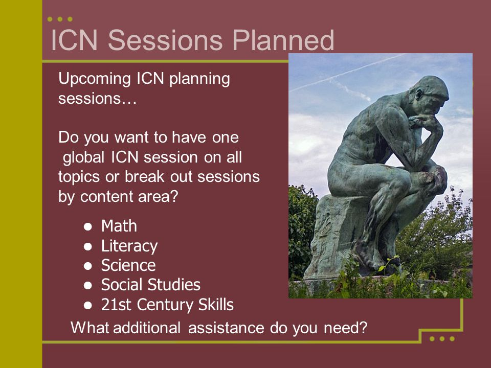 ICN Sessions Planned Math Literacy Science Social Studies 21st Century Skills Upcoming ICN planning sessions… Do you want to have one global ICN session on all topics or break out sessions by content area.
