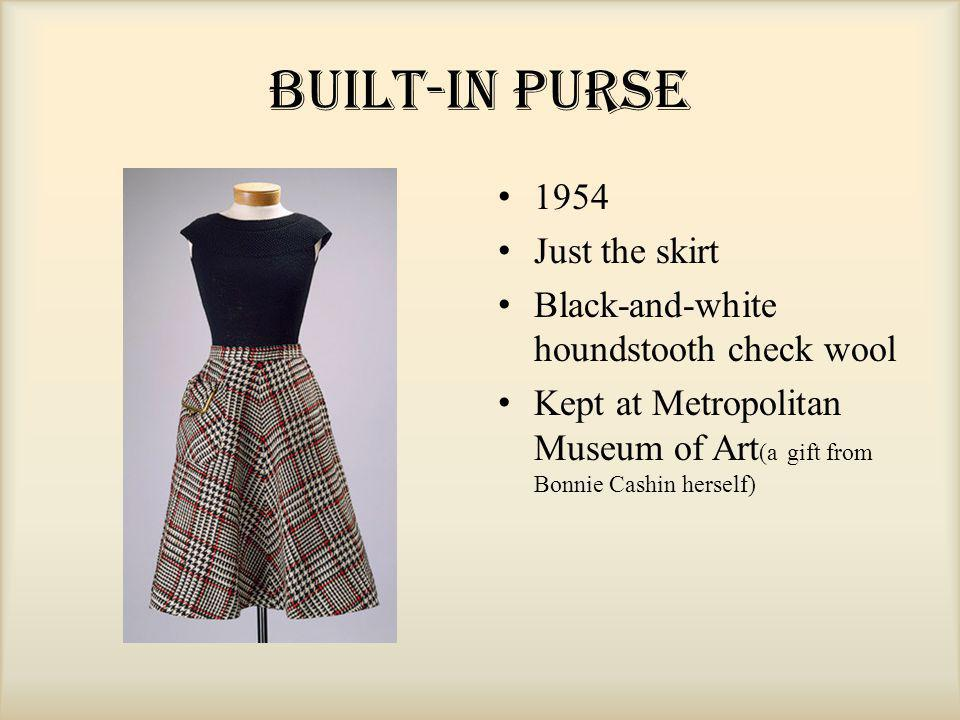 Built-In Purse 1954 Just the skirt Black-and-white houndstooth check wool Kept at Metropolitan Museum of Art (a gift from Bonnie Cashin herself)