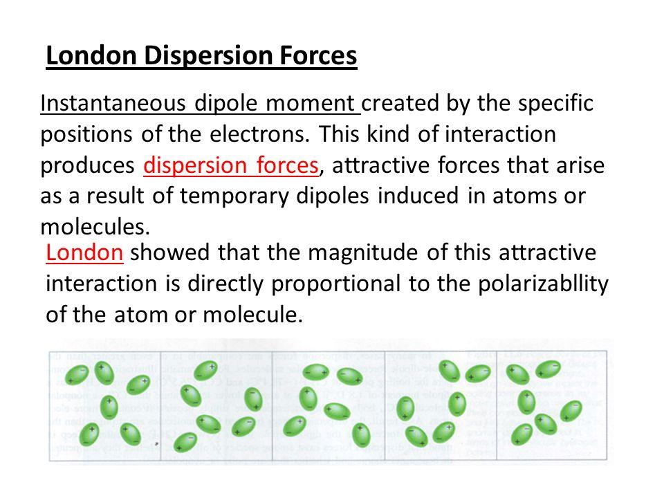 2.1.5 Dispersion Forces: If we place an ion or a polar molecule near an atom (or a nonpolar molecule), the electron distribution of the atom (or molec