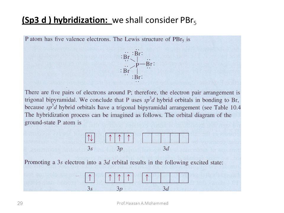 Prof.Haasan A.Mohammed (Sp3 d ) hybridization: we shall consider PBr 5 29