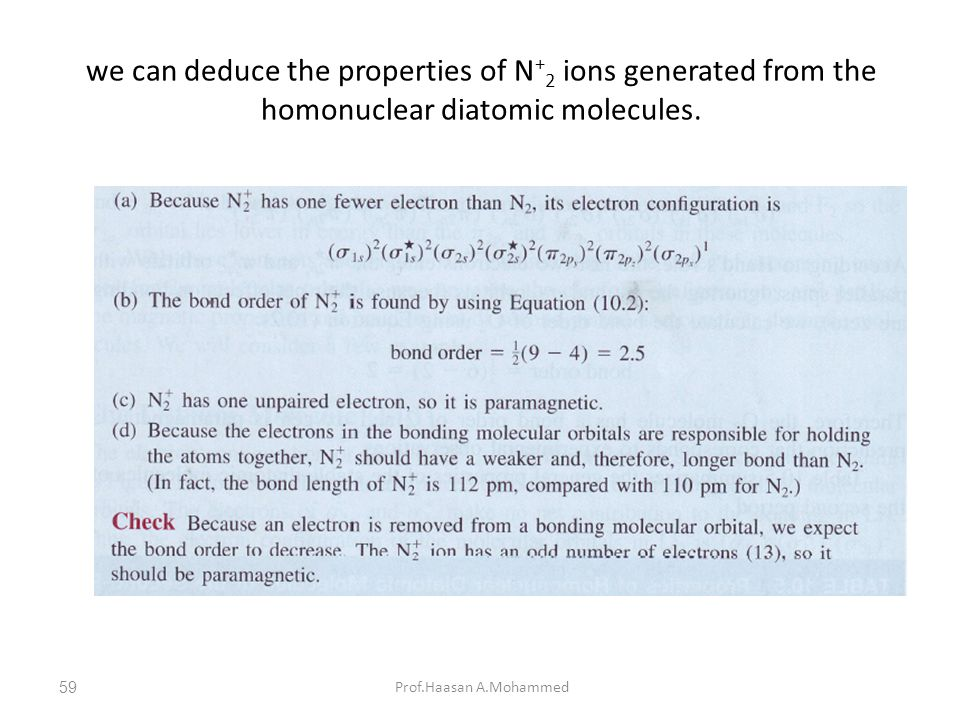 we can deduce the properties of N + 2 ions generated from the homonuclear diatomic molecules. Prof.Haasan A.Mohammed59