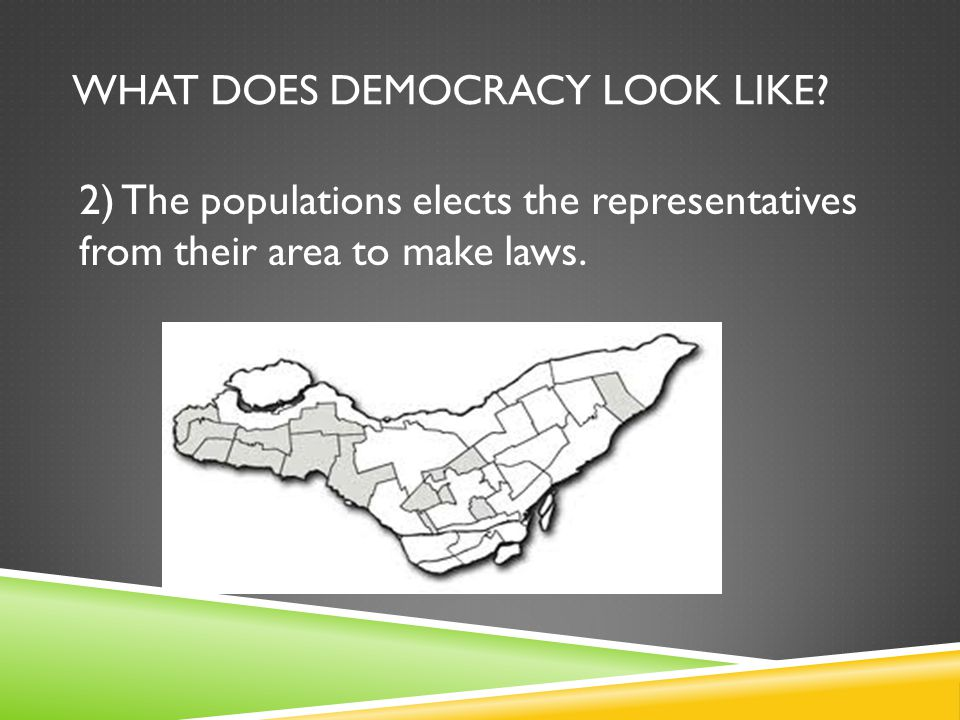 WHAT DOES DEMOCRACY LOOK LIKE? 2) The populations elects the representatives from their area to make laws.