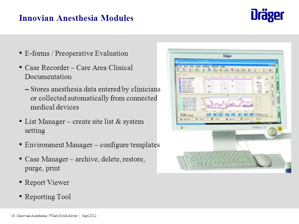 Innovian Anesthesia - What's It All About | Sept 201216 | Innovian Anesthesia Modules E-forms / Preoperative Evaluation Case Recorder – Care Area Clin