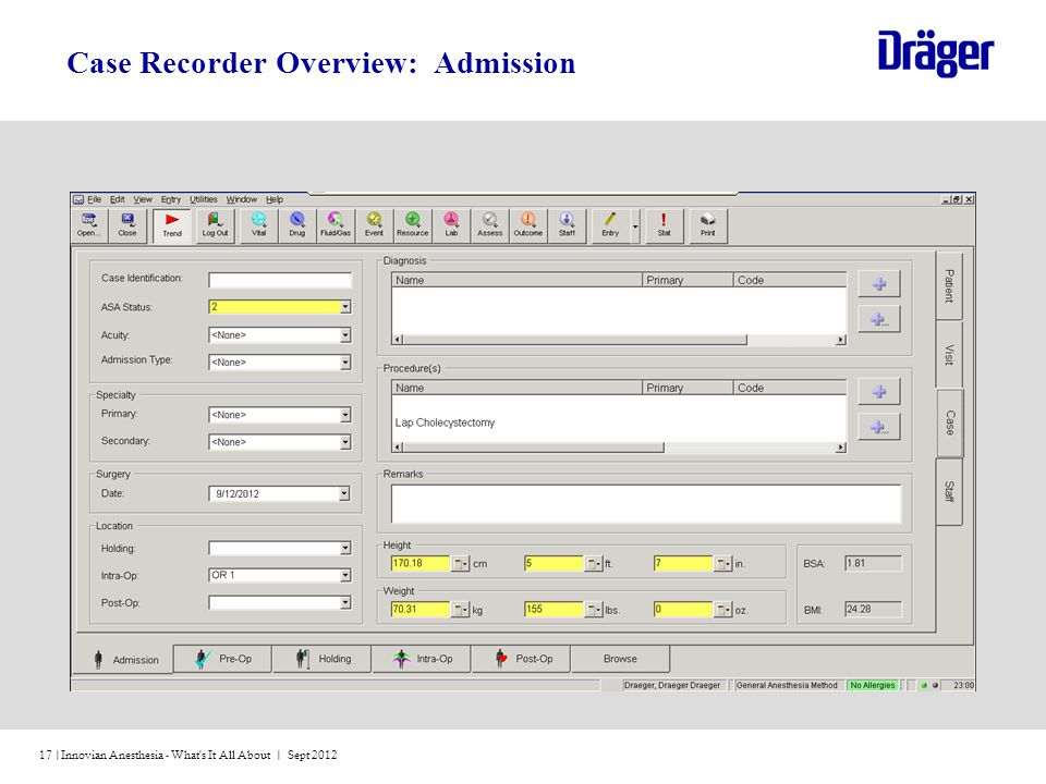 Innovian Anesthesia - What s It All About | Sept 201217 | Case Recorder Overview: Admission