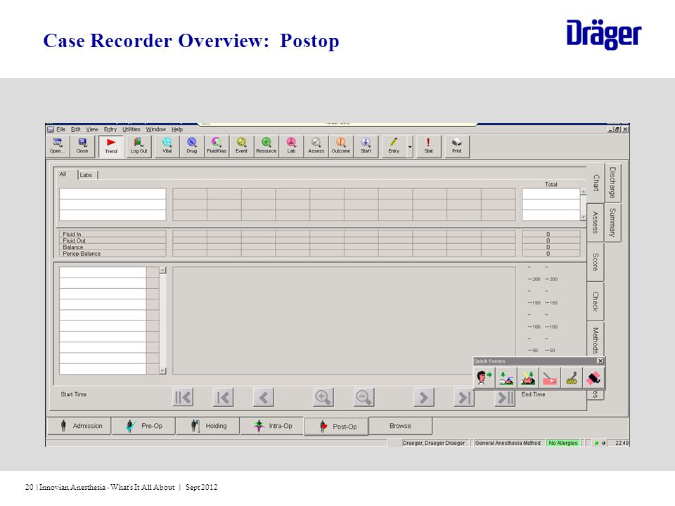 Innovian Anesthesia - What s It All About | Sept 201220 | Case Recorder Overview: Postop