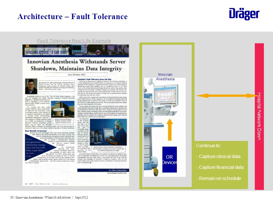 Innovian Anesthesia - What's It All About | Sept 201230 | Architecture – Fault Tolerance Continue to: - Capture clinical data - Capture financial data