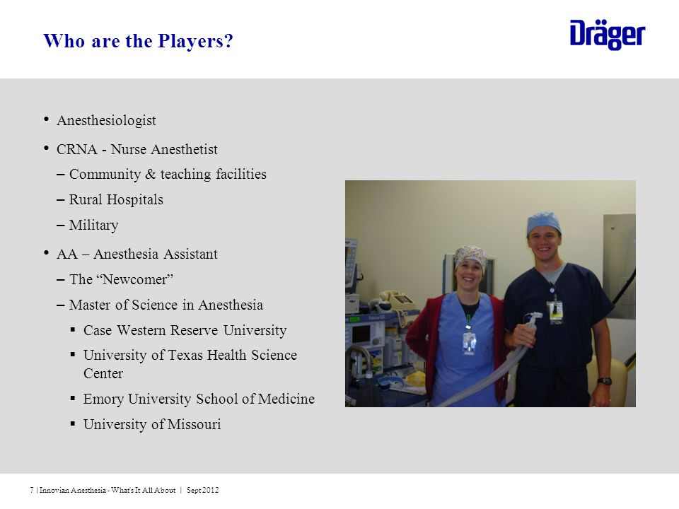 Innovian Anesthesia - What s It All About | Sept 20127 | Who are the Players.