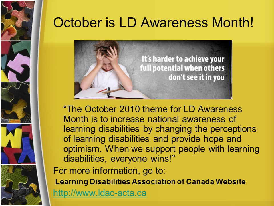 October is LD Awareness Month.
