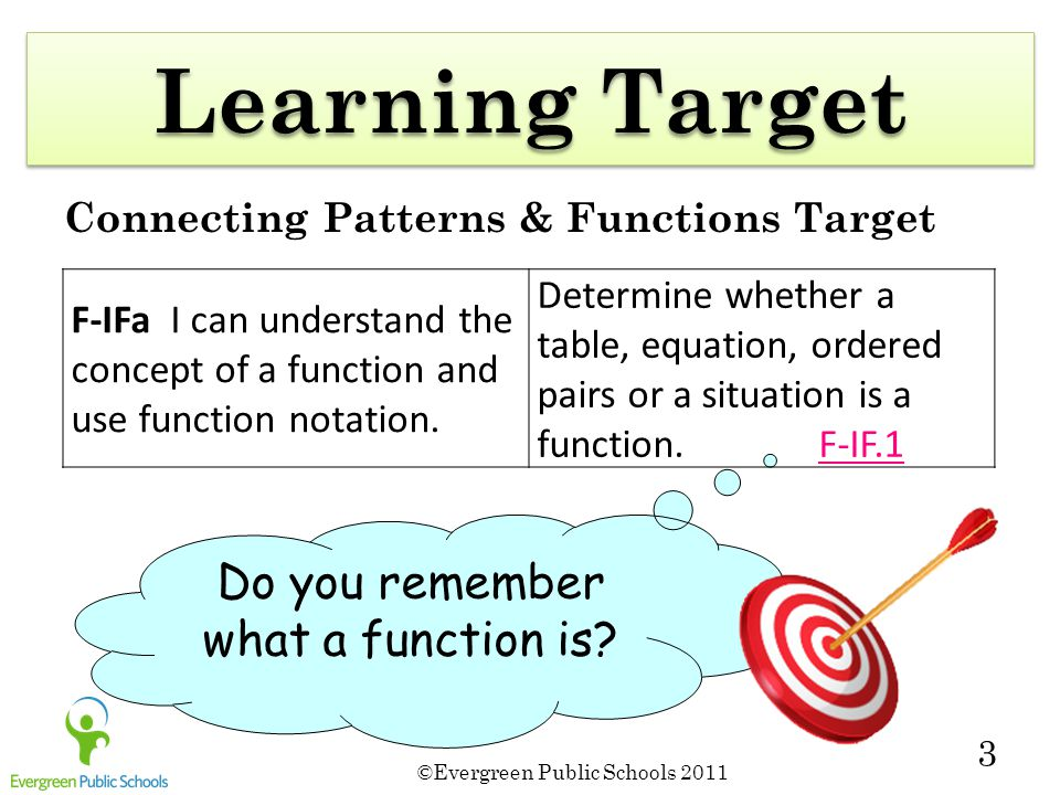 ©Evergreen Public Schools 2011 3 Learning Target Connecting Patterns & Functions Target Do you remember what a function is.