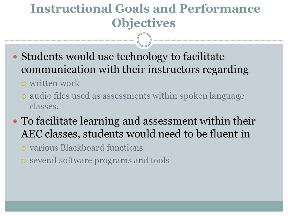 Instructional Goals and Performance Objectives Students would use technology to facilitate communication with their instructors regarding  written work  audio files used as assessments within spoken language classes.
