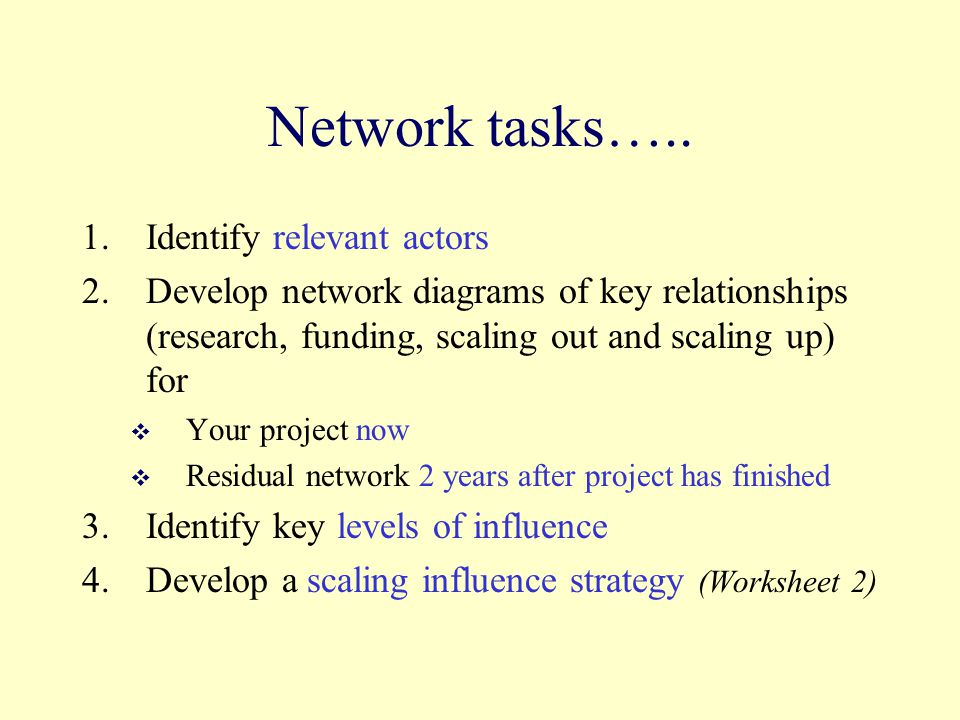 Network tasks….. 1.Identify relevant actors 2.Develop network diagrams of key relationships (research, funding, scaling out and scaling up) for  Your