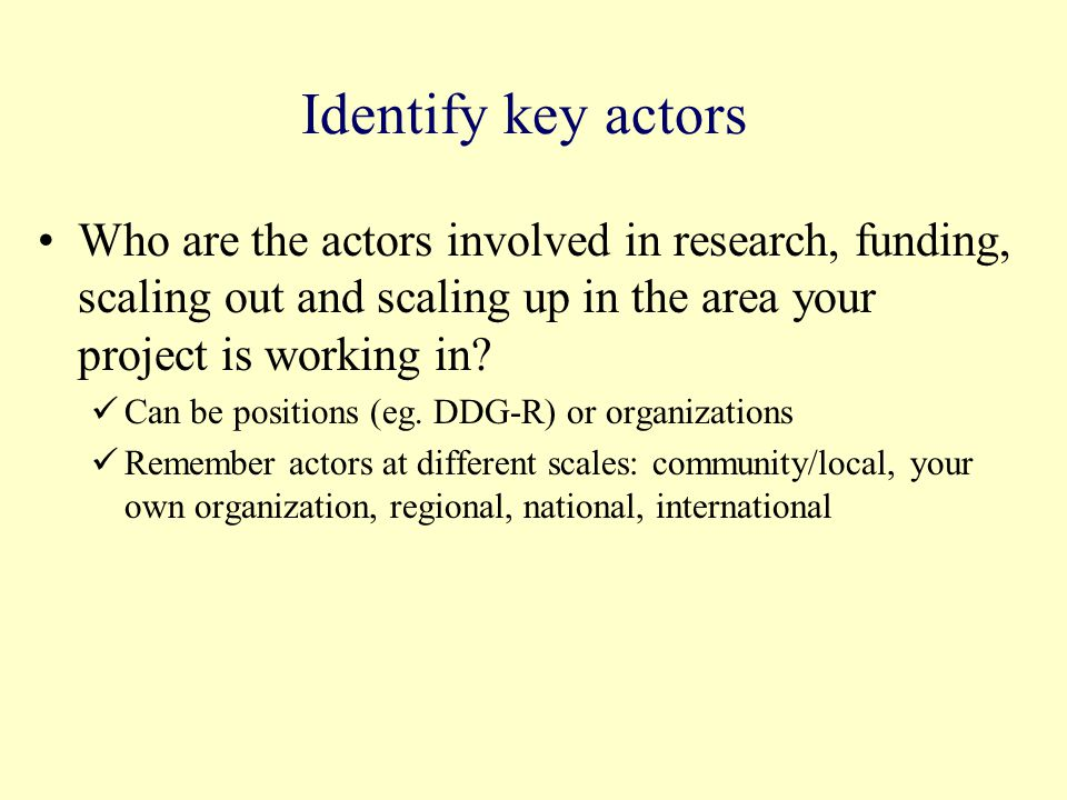 Identify key actors Who are the actors involved in research, funding, scaling out and scaling up in the area your project is working in? Can be positi