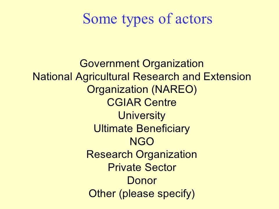 Some types of actors Government Organization National Agricultural Research and Extension Organization (NAREO) CGIAR Centre University Ultimate Beneficiary NGO Research Organization Private Sector Donor Other (please specify)