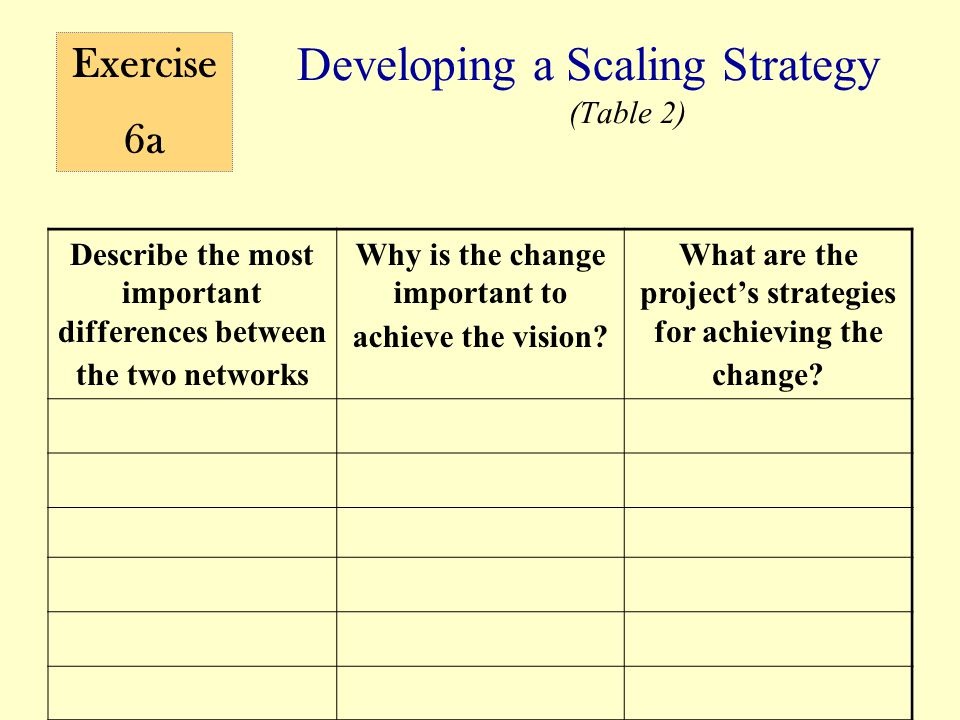 Developing a Scaling Strategy (Table 2) Describe the most important differences between the two networks Why is the change important to achieve the vi