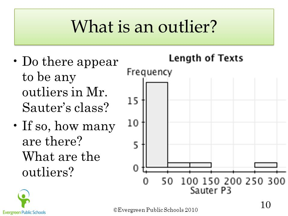 ©Evergreen Public Schools 2010 10 What is an outlier.