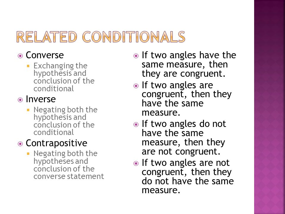  Counterexample  Shows that a conditional statement is false where the hypothesis is true and the conclusion is false
