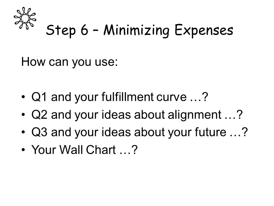Step 6 – Minimizing Expenses How can you use: Q1 and your fulfillment curve …? Q2 and your ideas about alignment …? Q3 and your ideas about your futur