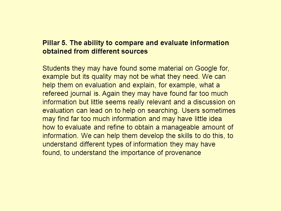 Pillar 1. The ability to recognise a need for information.