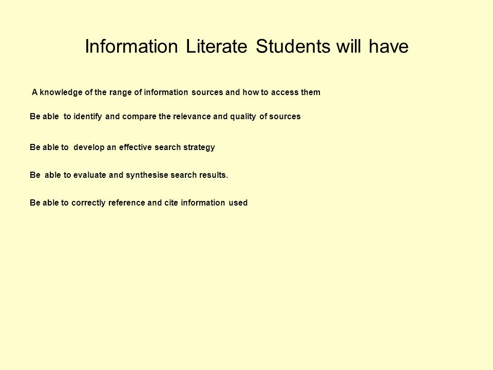 Information Literate Students will have A knowledge of the range of information sources and how to access them Be able to identify and compare the relevance and quality of sources Be able to develop an effective search strategy Be able to evaluate and synthesise search results.