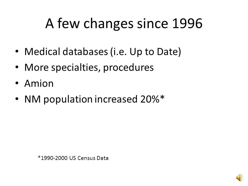 A few changes since 1996 Medical databases (i.e.