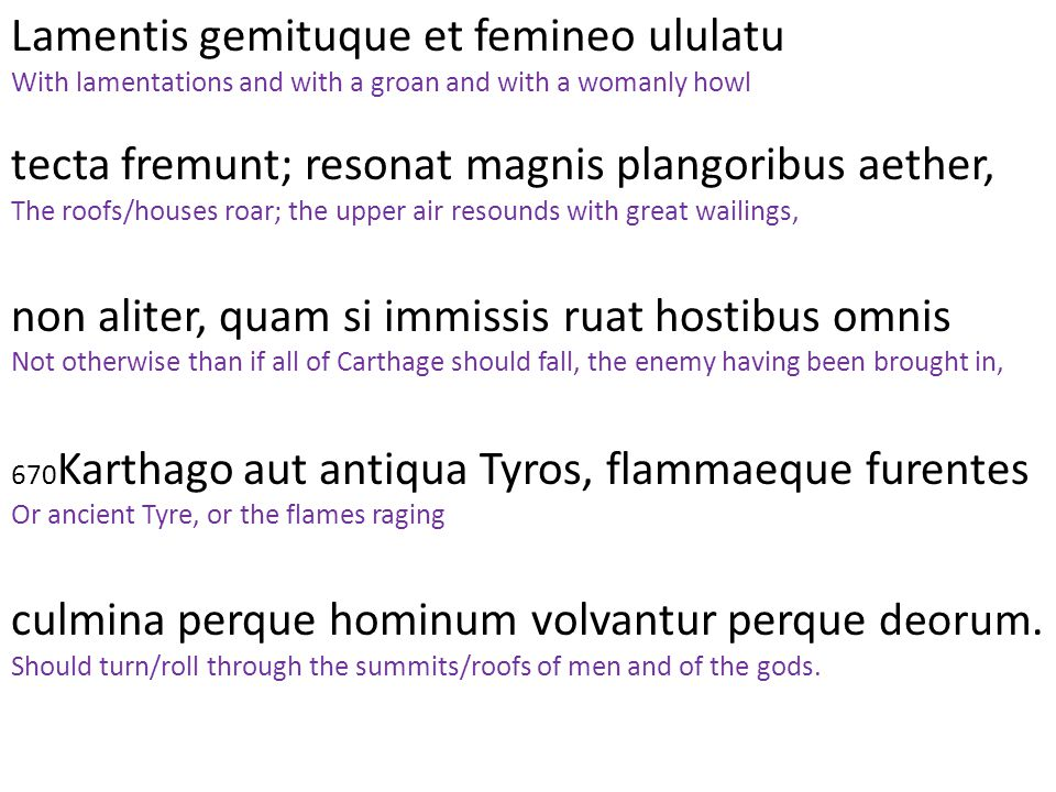 Lamentis gemituque et femineo ululatu With lamentations and with a groan and with a womanly howl tecta fremunt; resonat magnis plangoribus aether, The