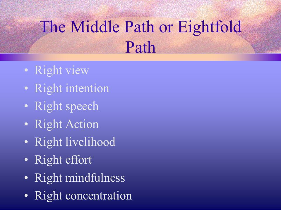 The Middle Path or Eightfold Path Right view Right intention Right speech Right Action Right livelihood Right effort Right mindfulness Right concentra