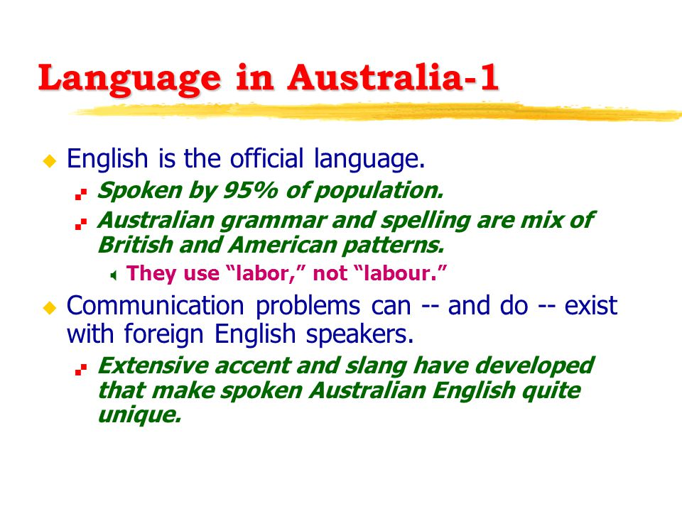 Language in Australia-1 u English is the official language.