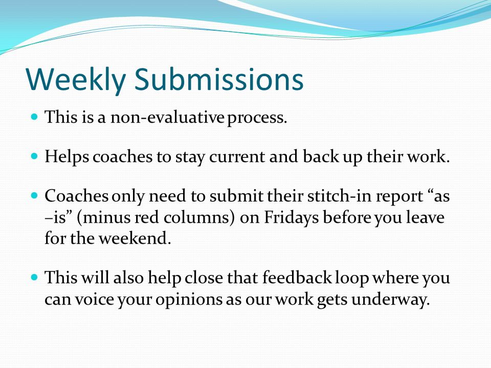 Weekly Submissions This is a non-evaluative process.