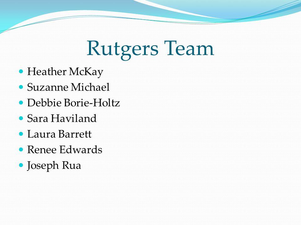 Rutgers Team Heather McKay Suzanne Michael Debbie Borie-Holtz Sara Haviland Laura Barrett Renee Edwards Joseph Rua