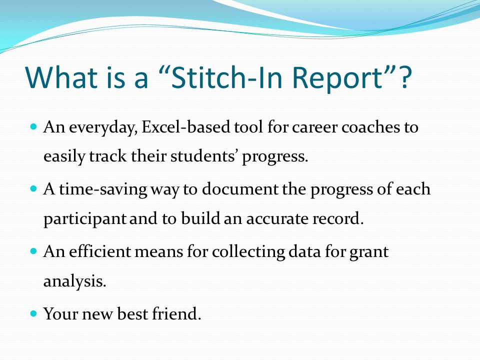 What is a Stitch-In Report .