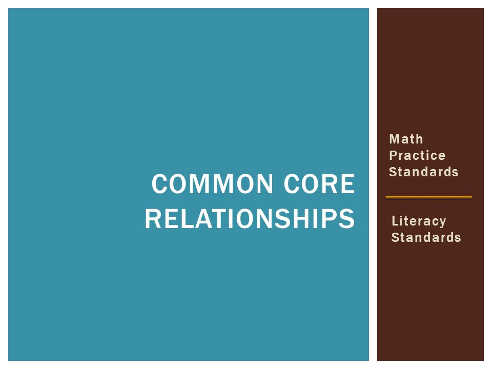 Math Practice Standards COMMON CORE RELATIONSHIPS Literacy Standards
