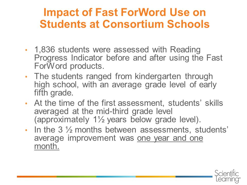 Impact of Fast ForWord Use on Students at Consortium Schools 1,836 students were assessed with Reading Progress Indicator before and after using the Fast ForWord products.