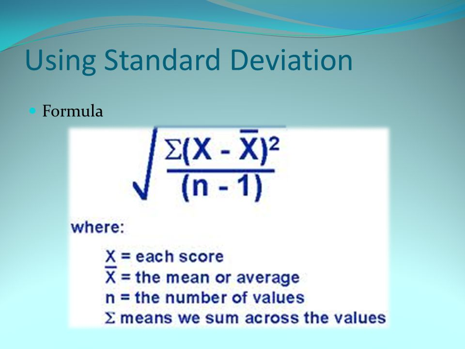 Using Standard Deviation Formula