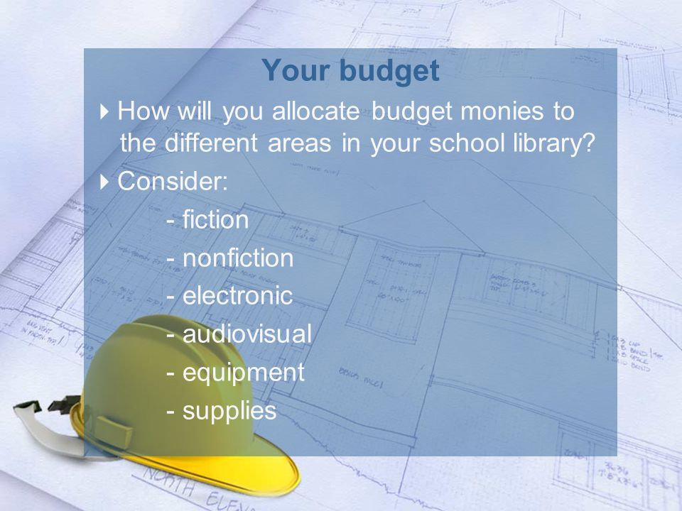 Your budget  How will you allocate budget monies to the different areas in your school library.