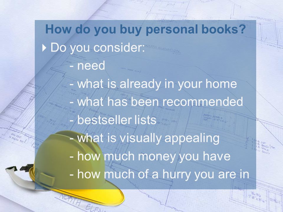 How do you buy personal books.
