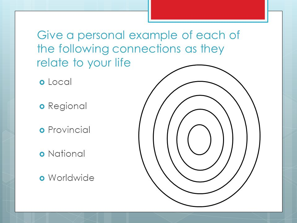 Give a personal example of each of the following connections as they relate to your life  Local  Regional  Provincial  National  Worldwide
