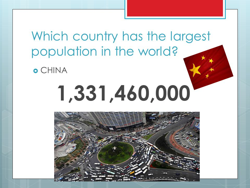 Which country has the largest population in the world?  CHINA 1,331,460,000