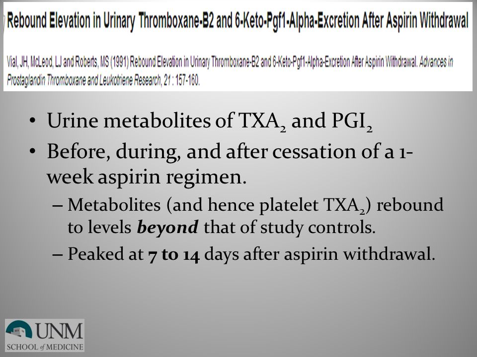 Urine metabolites of TXA 2 and PGI 2 Before, during, and after cessation of a 1- week aspirin regimen. – Metabolites (and hence platelet TXA 2 ) rebou
