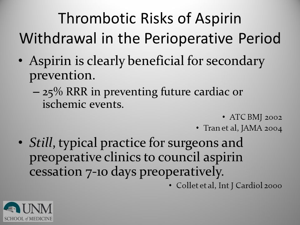 Thrombotic Risks of Aspirin Withdrawal in the Perioperative Period Aspirin is clearly beneficial for secondary prevention. – 25% RRR in preventing fut