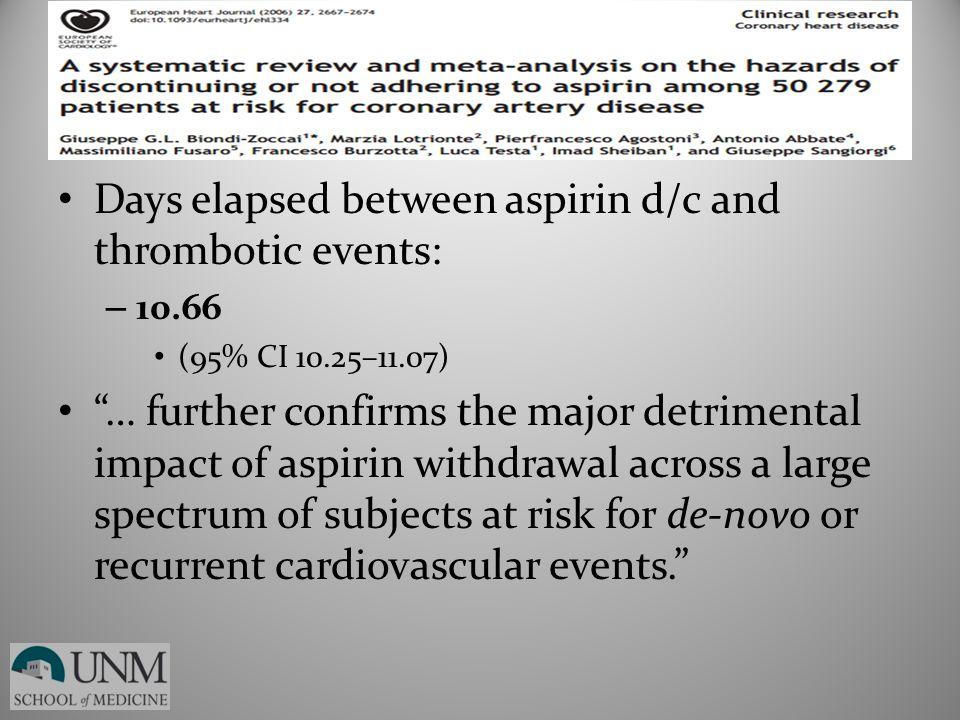"Days elapsed between aspirin d/c and thrombotic events: – 10.66 (95% CI 10.25–11.07) ""… further confirms the major detrimental impact of aspirin withd"