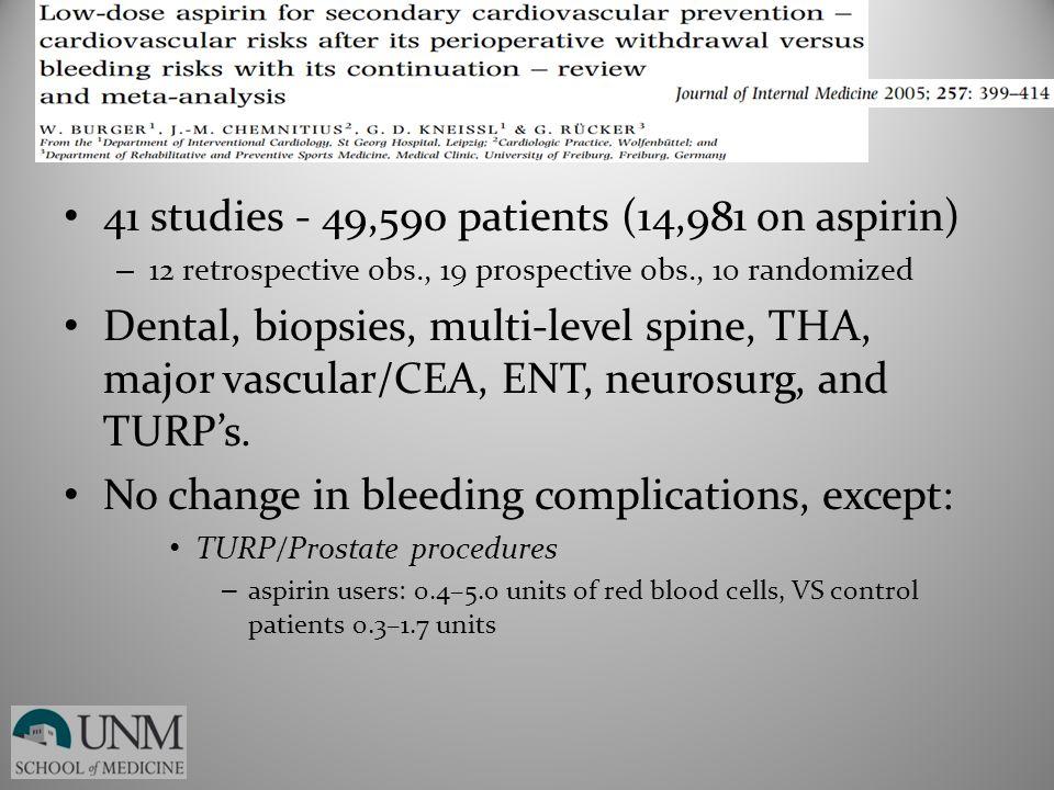 41 studies - 49,590 patients (14,981 on aspirin) – 12 retrospective obs., 19 prospective obs., 10 randomized Dental, biopsies, multi-level spine, THA,