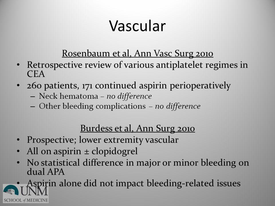 Vascular Rosenbaum et al, Ann Vasc Surg 2010 Retrospective review of various antiplatelet regimes in CEA 260 patients, 171 continued aspirin periopera