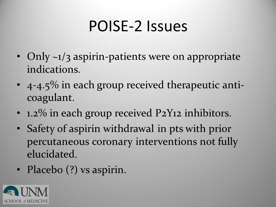 POISE-2 Issues Only ~1/3 aspirin-patients were on appropriate indications. 4-4.5% in each group received therapeutic anti- coagulant. 1.2% in each gro
