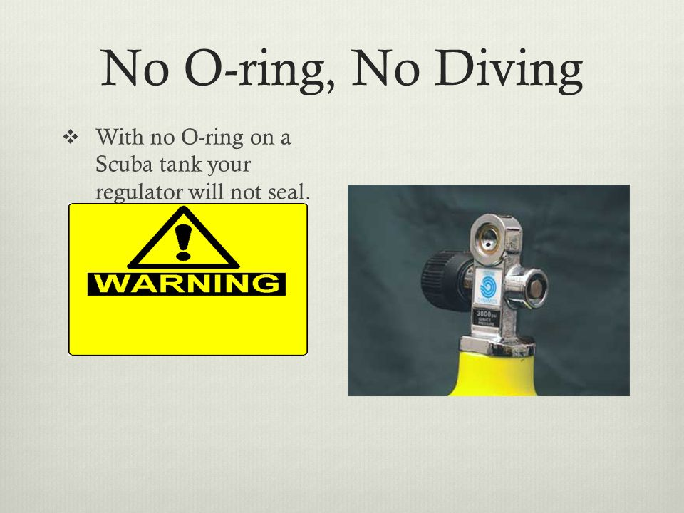 No O-ring, No Diving  With no O-ring on a Scuba tank your regulator will not seal.