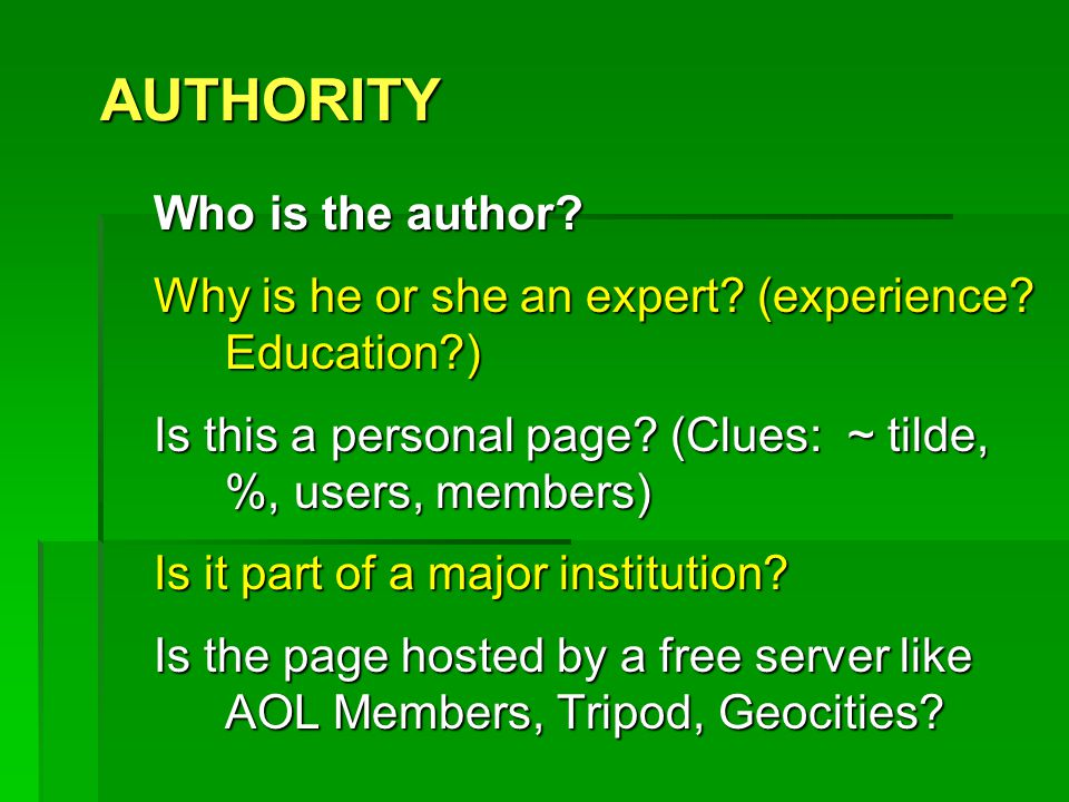 Now that I've found a site…  Look for the criteria to judge the website.