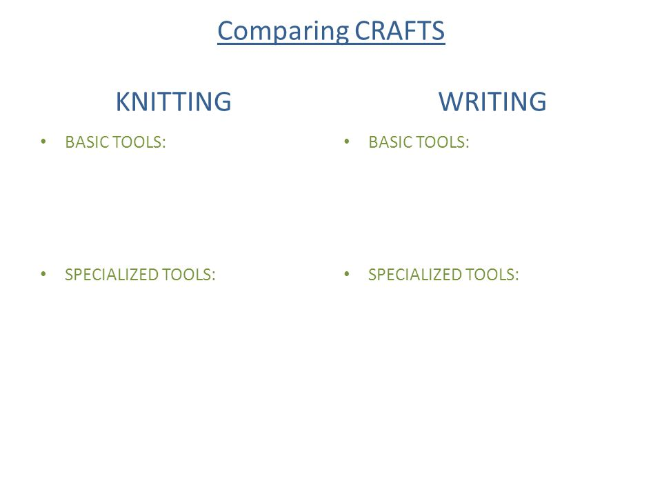 Comparing CRAFTS KNITTING WRITING BASIC TOOLS: SPECIALIZED TOOLS: BASIC TOOLS: SPECIALIZED TOOLS: