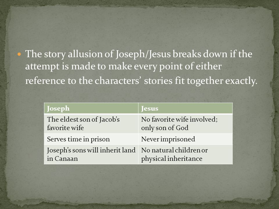 The story allusion of Joseph/Jesus breaks down if the attempt is made to make every point of either reference to the characters' stories fit together exactly.